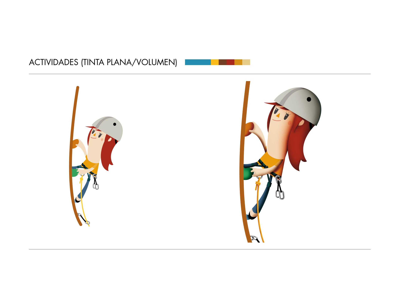 Diseño de personajes chica escalando