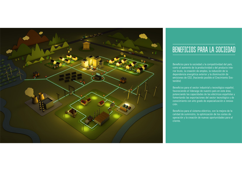 ilustracion 3D smart grid cartel noche