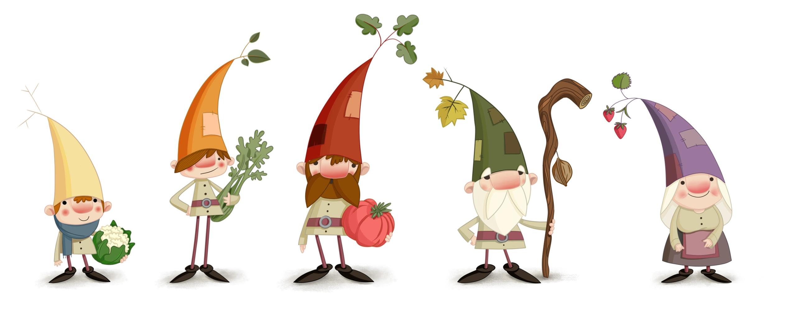 Ilustracion de personajes huertos urbanos