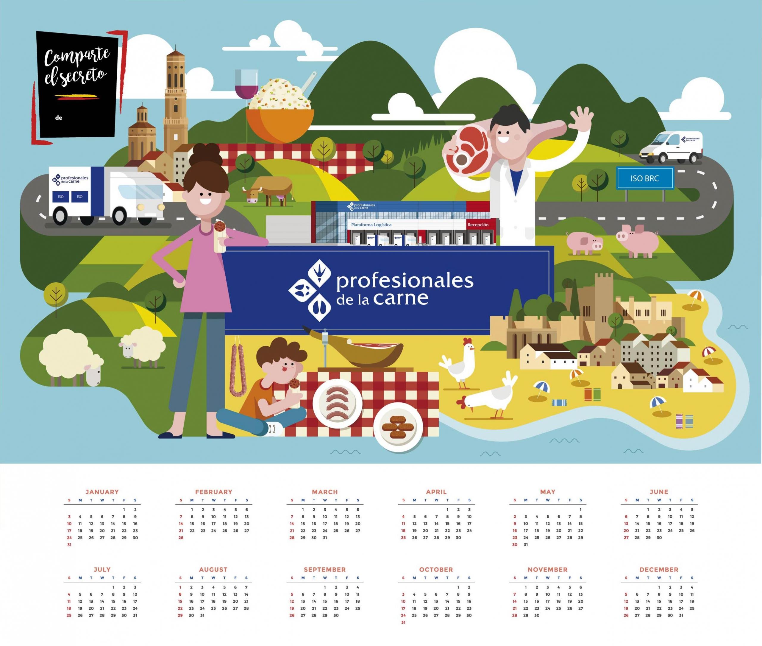 ilustracion calendario profesionales de la carne